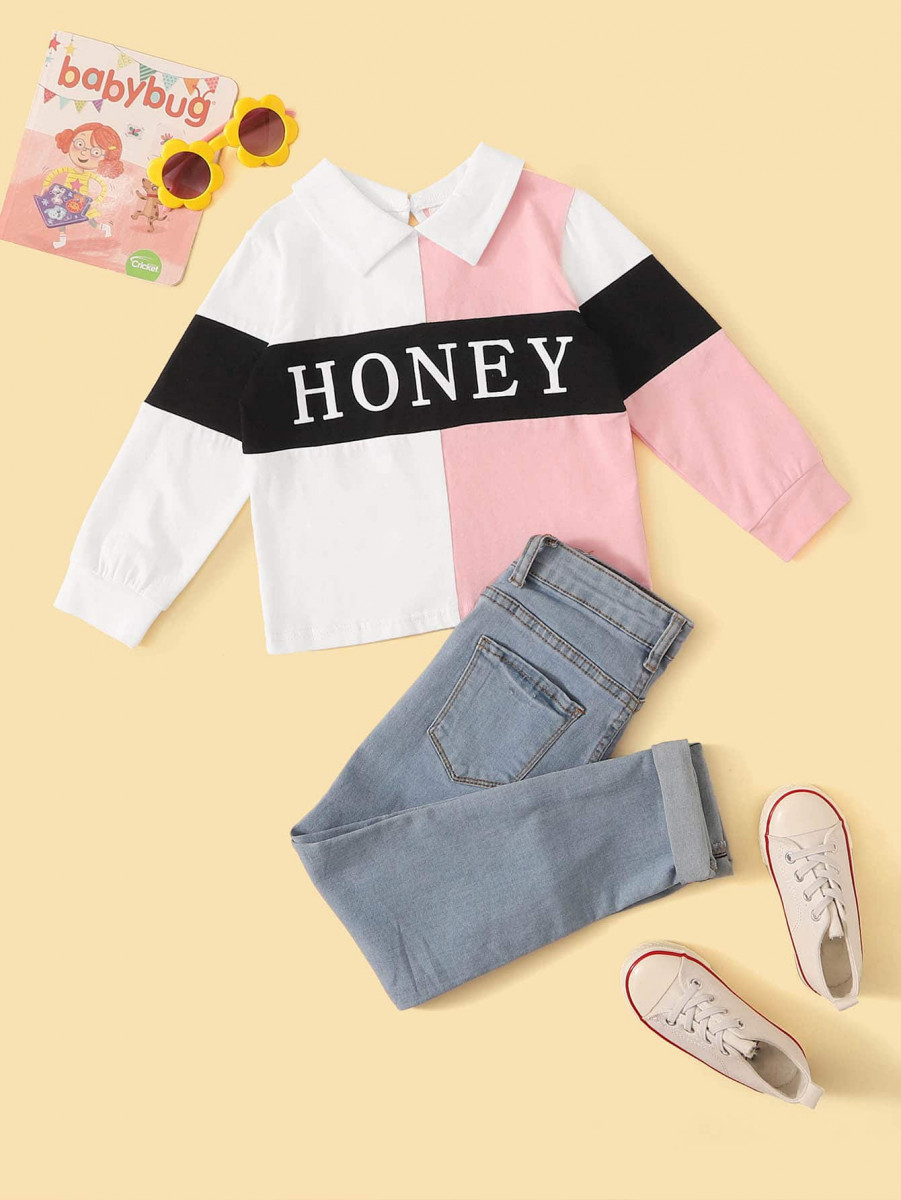 Toddler Girls Cut And Sew Letter Graphic Sweatshirt