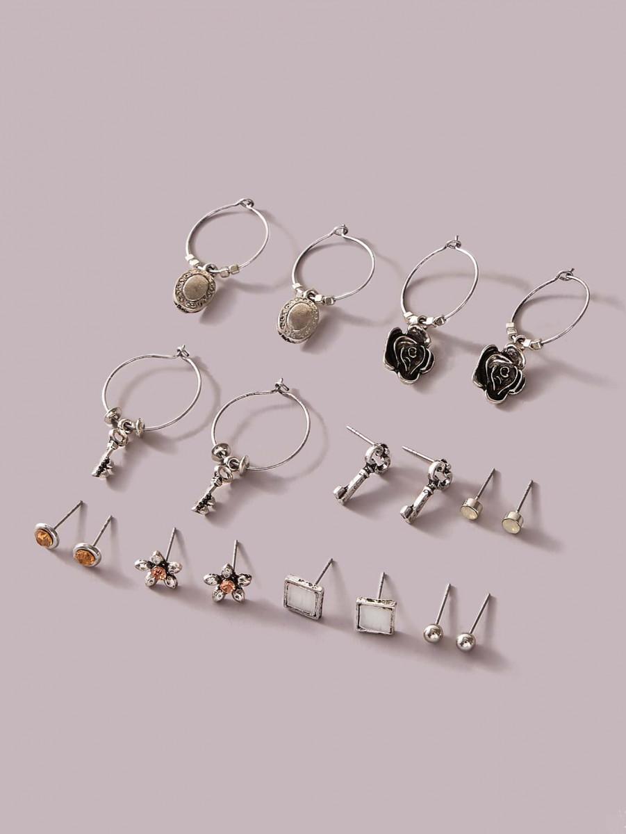 9pairs Flower & Key Decor Earrings