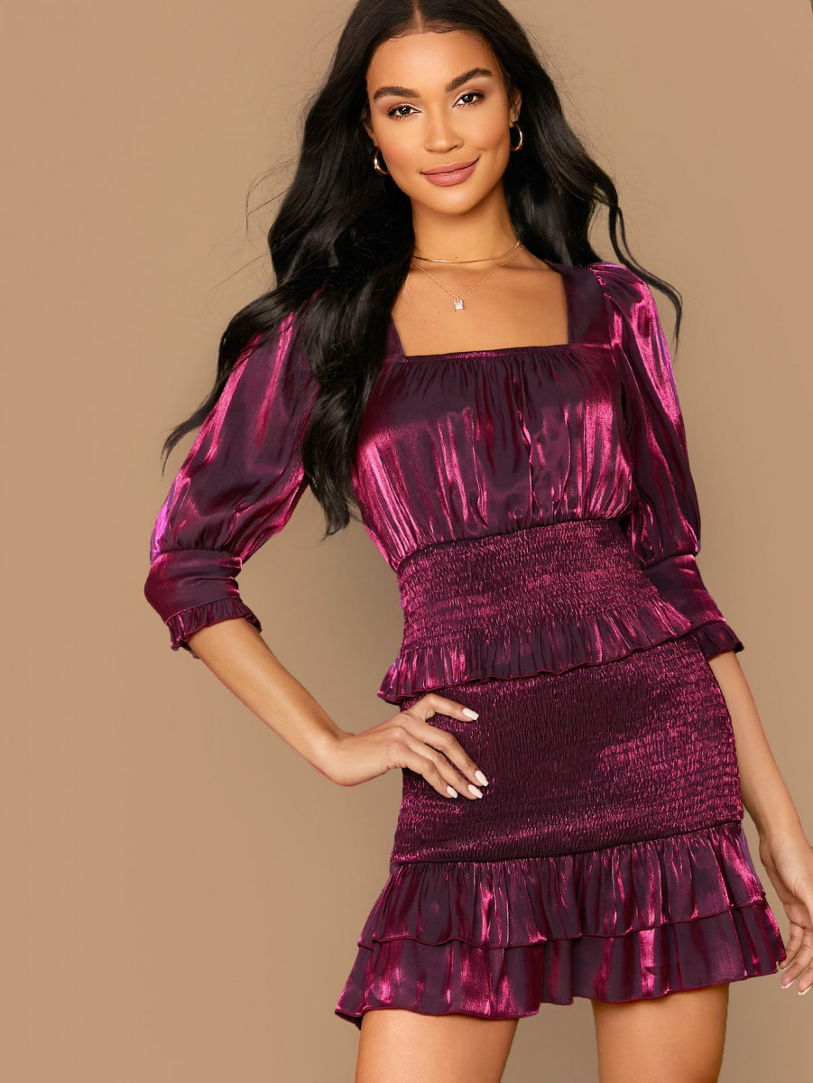Shirred Panel Ruffle Trim Satin Top and Bodycon Skirt Set