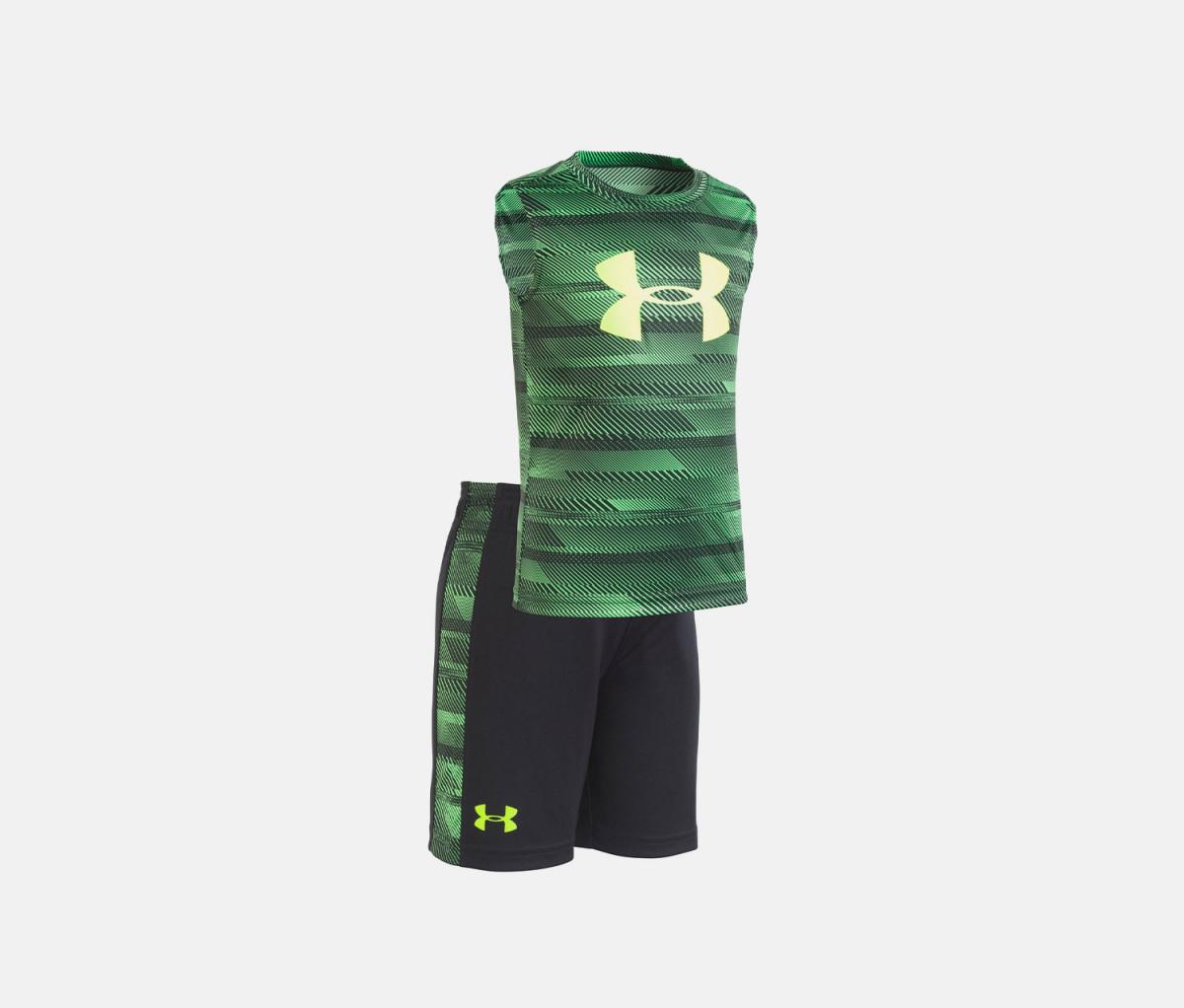 Under Armour Little Boys 2-Pc. Logo-Print Tank & Shorts Set  Laser Green