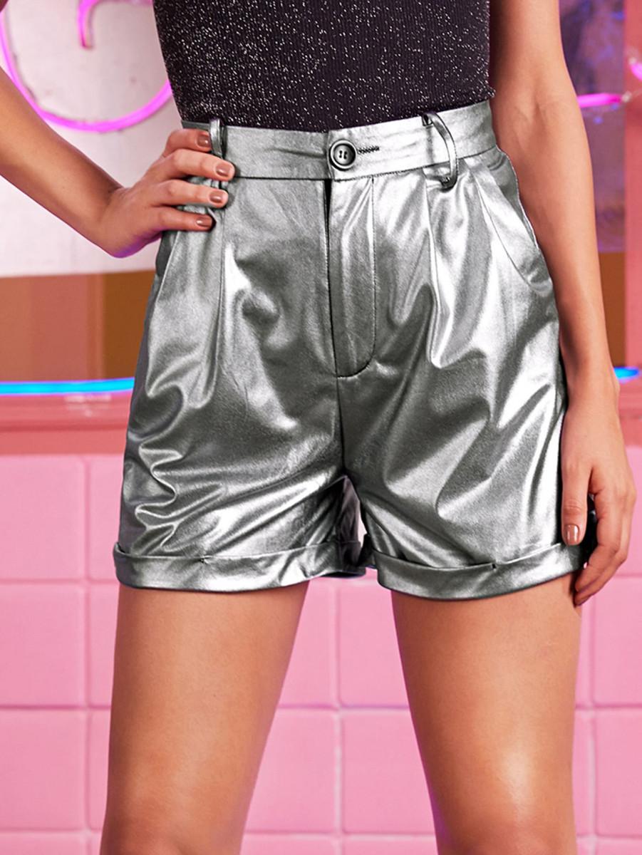 Rolled Hem Holographic Straight Shorts