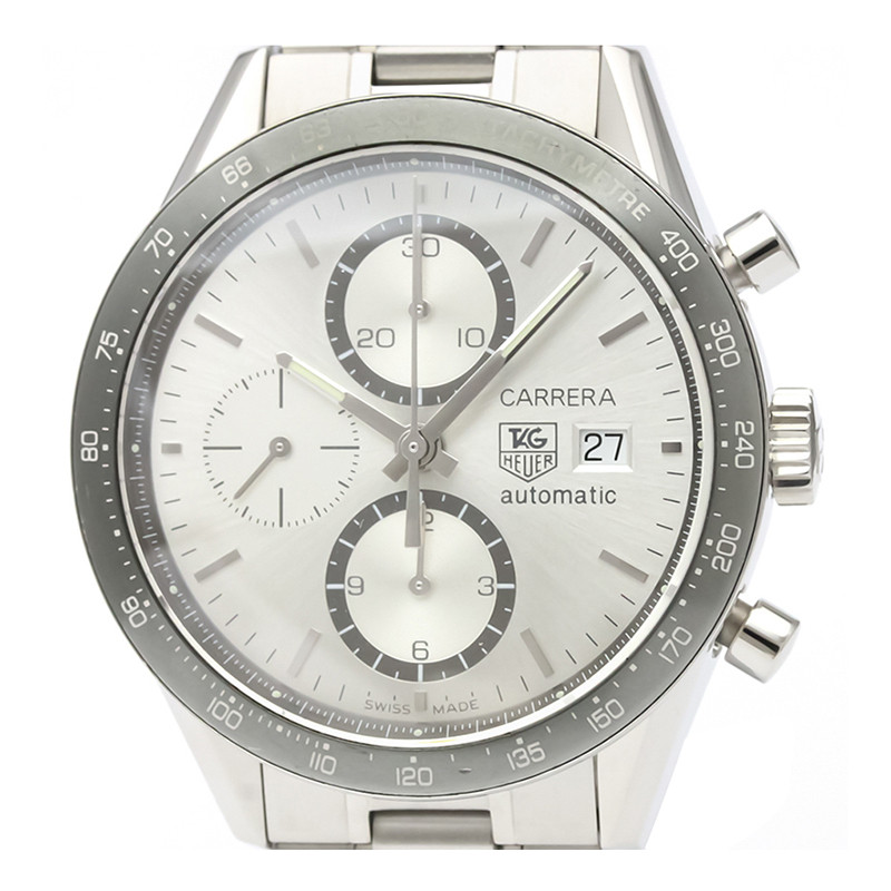 Tag Heuer Silver Stainless Steel Carrera Chronograph CV2011 Men's Wristwatch 41MM
