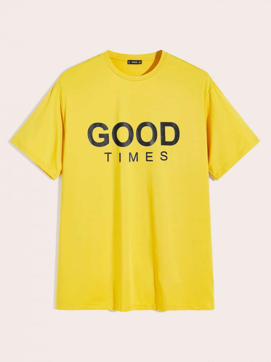 Men Neon Yellow Slogan Graphic Top