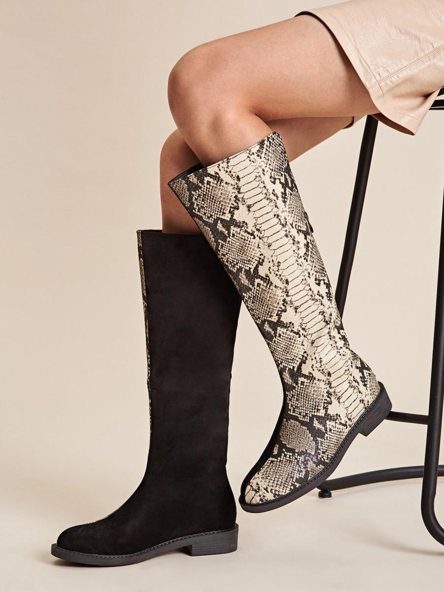 Snakeskin Panel Mid Calf Boots