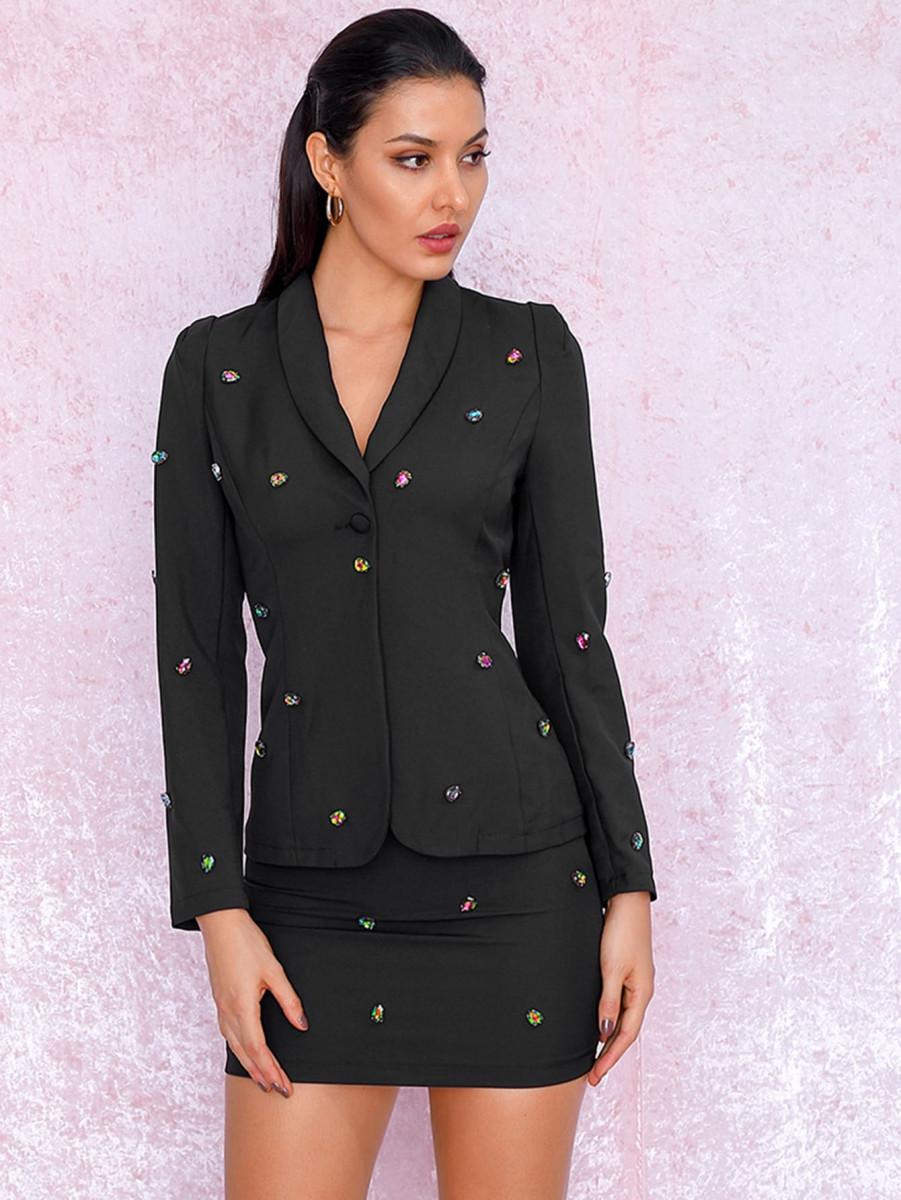 LOVE&LEMONADE Beaded Shawl Collar Blazer & Bodycon Skirt Set