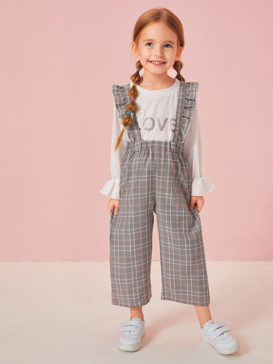 Toddler Girls Letter Graphic Top With Plaid Ruffle Straps Pants