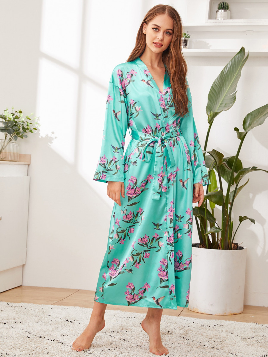 Floral Print Satin Robe With Belt
