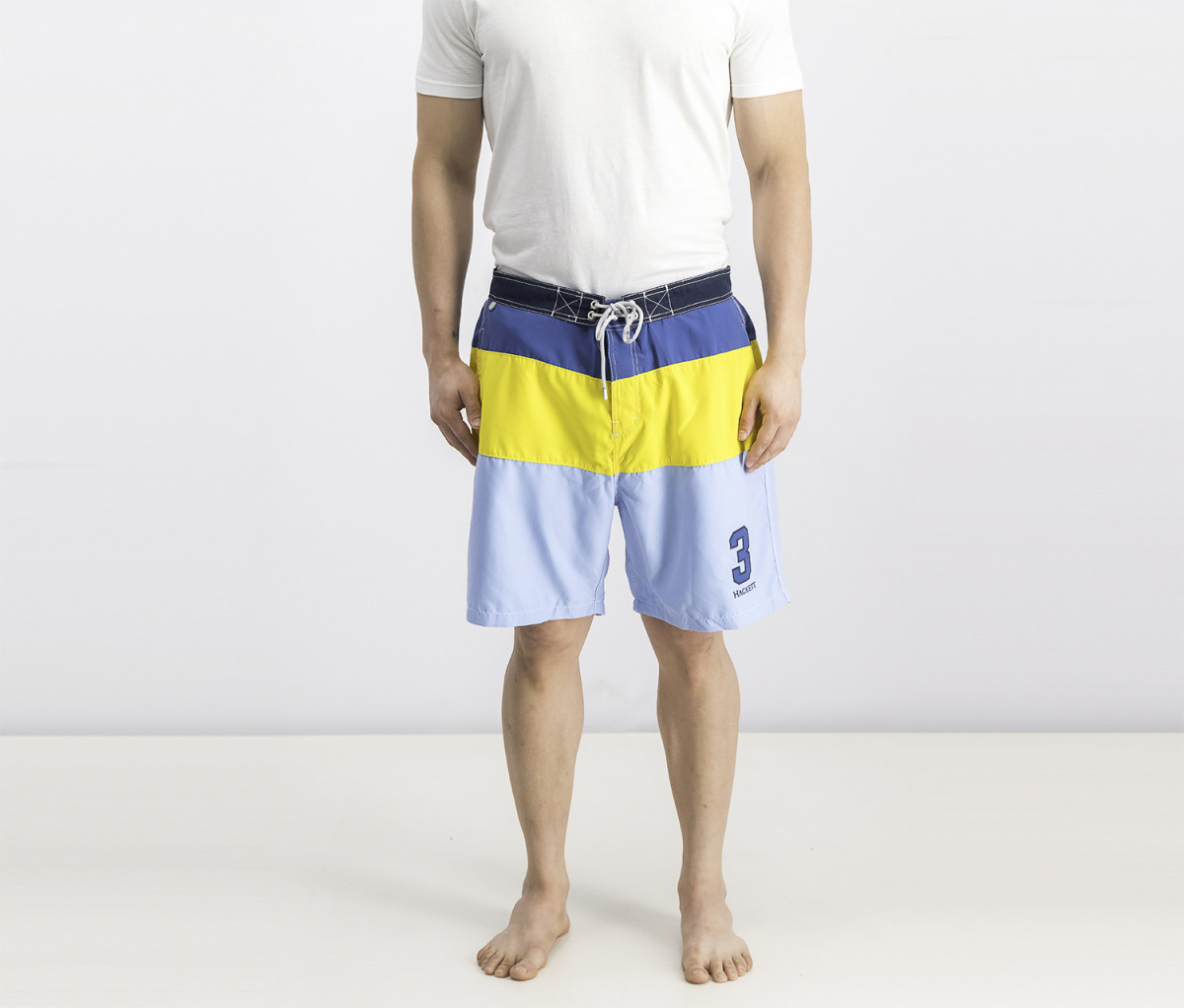 Hackett Mens Beach Polo Surf Short  Yellow/Navy/Blue