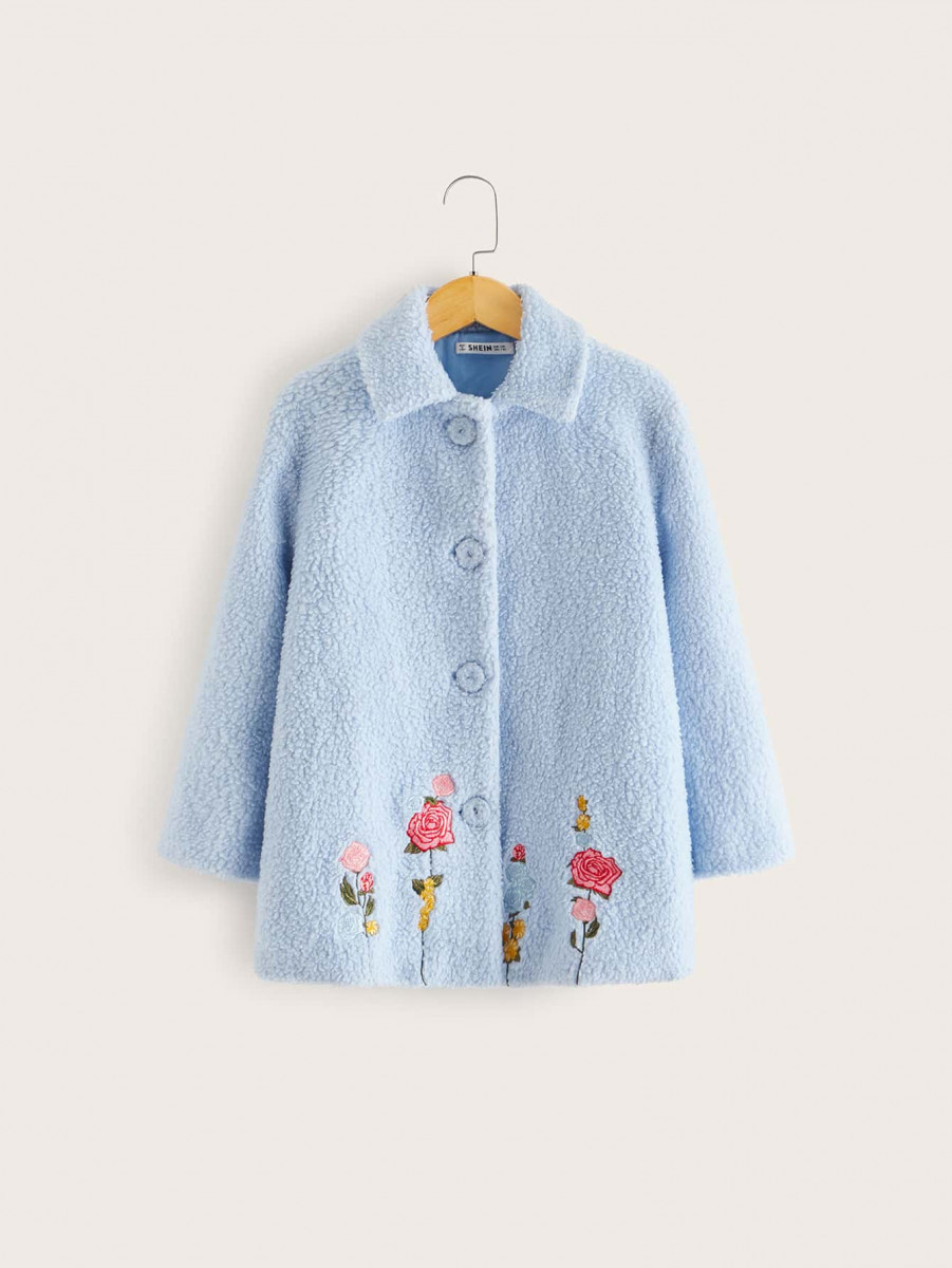 Girls Single Breasted Flower Embroidered Teddy Coat