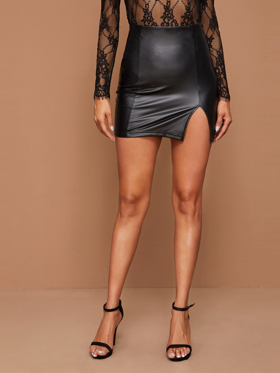 Split Front Leather Look Pencil Skirt