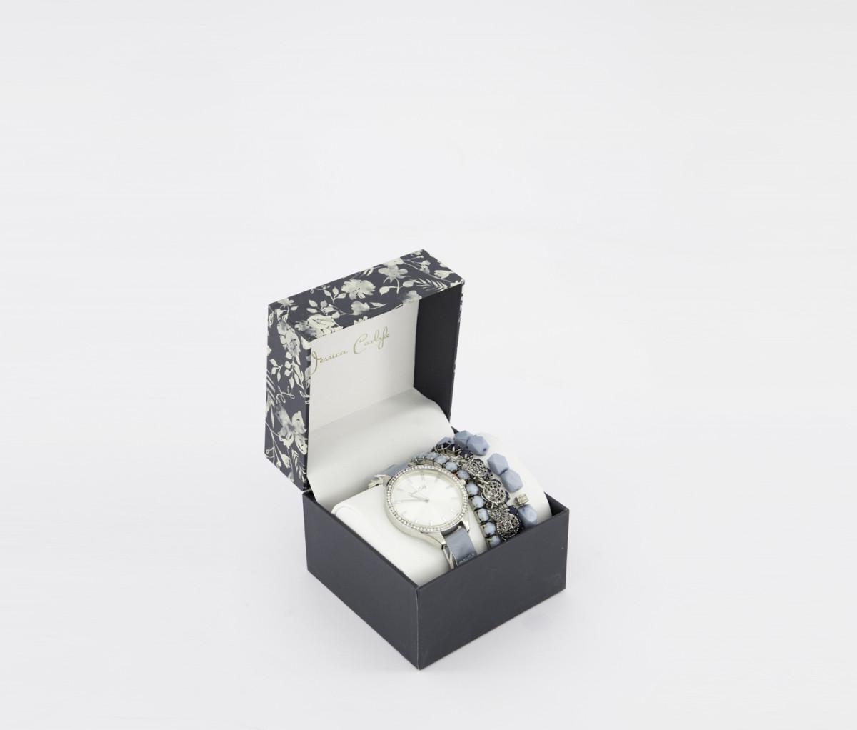 Jessica Carlyle Womens Analog Watch & Bracelet Set  Light Blue/Silver