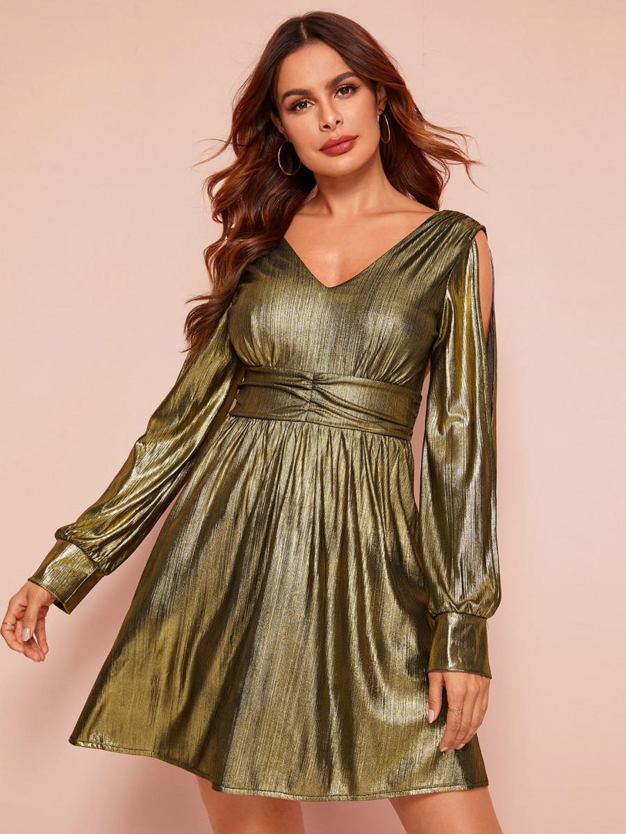 Metallic Split Sleeve Backless A-line Dress