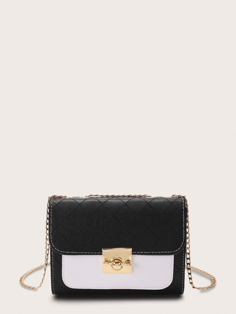Twist Lock Quilted Flap Chain Crossbody Bag