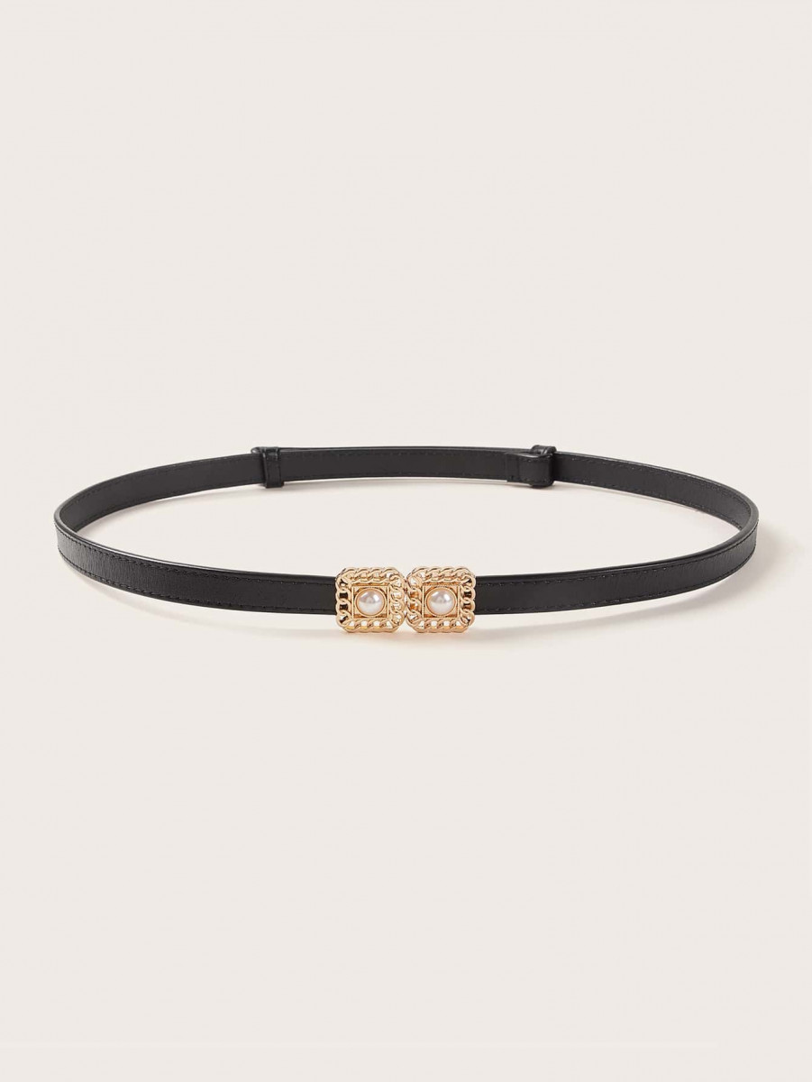 Double Square Faux Pearl Buckle Skinny Belt