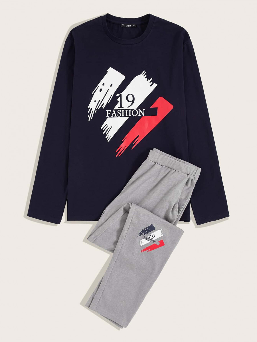 Men Number and Letter Graphic Tee and Pants PJ Set