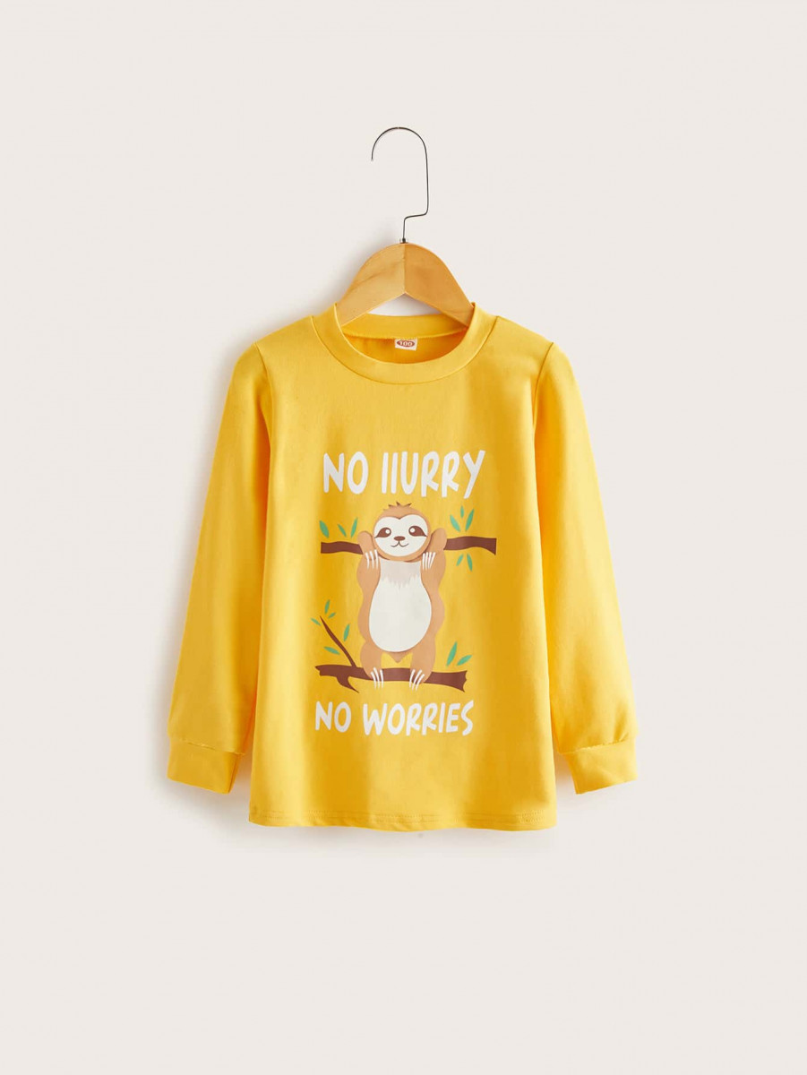 Toddler Boys Sloth And Letter Graphic Sweatshirt
