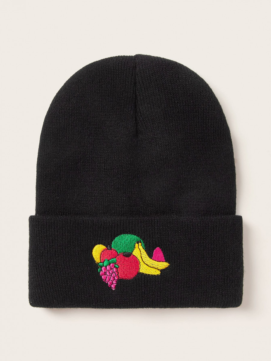 Fruit Embroidery Cuffed Beanie