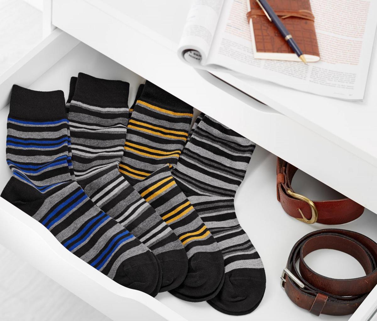 Mens Stripe Socks Set of 4  Black/Navy/Yellow/Blue
