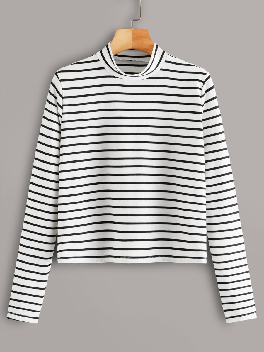 Striped Mock Collar Long Sleeve Tee