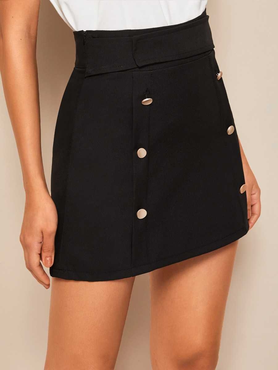 Solid Button Front Fitted Mini Skirt