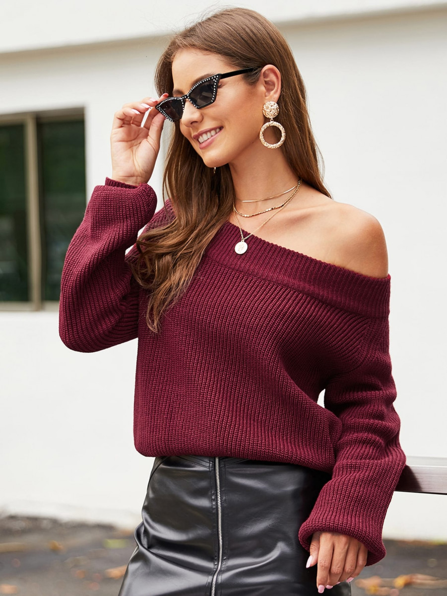 Off Shoulder Solid Knit Sweater