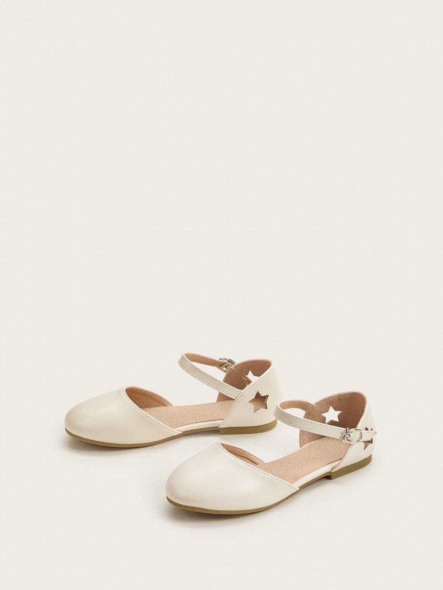 Girls Cut Out Detail Buckle Strap Flats