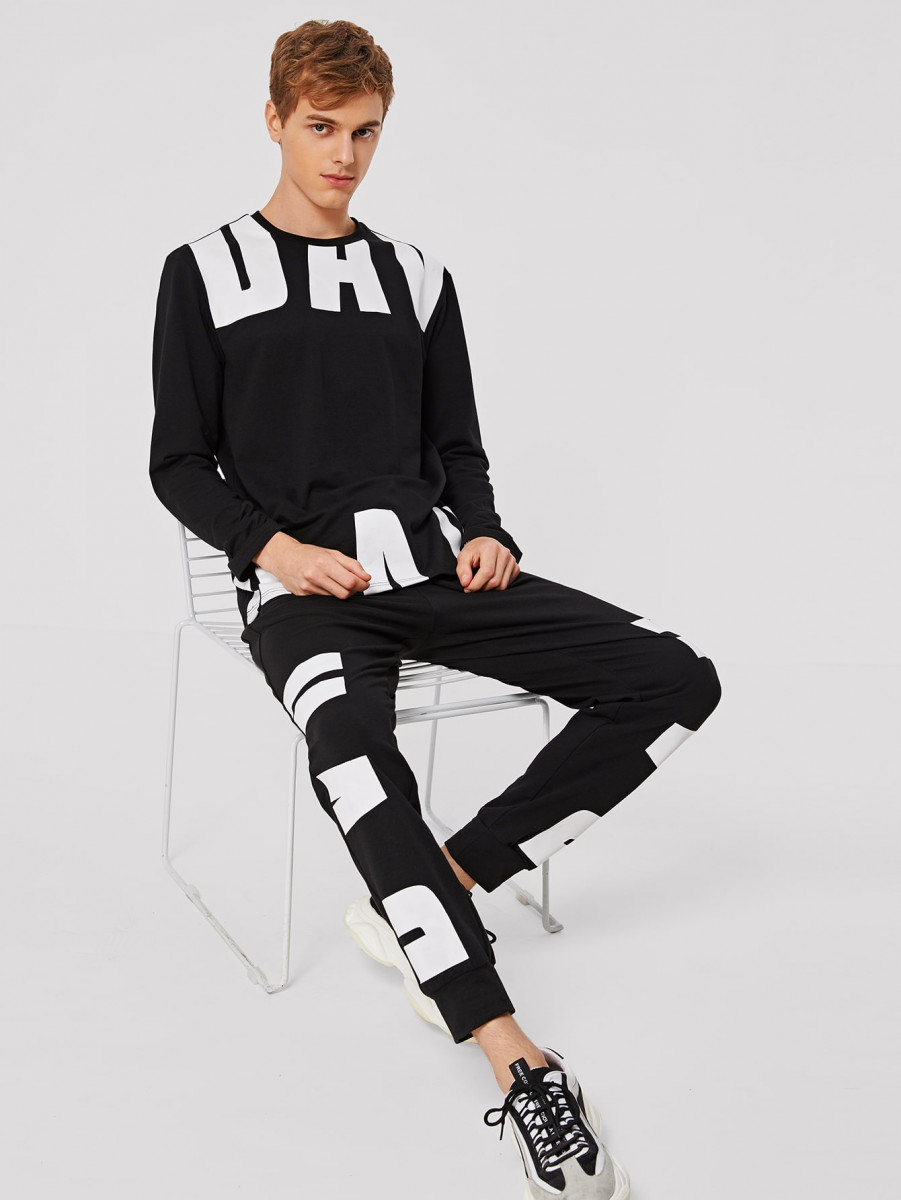 Men Letter Graphic Pullover & Sweatpants Set