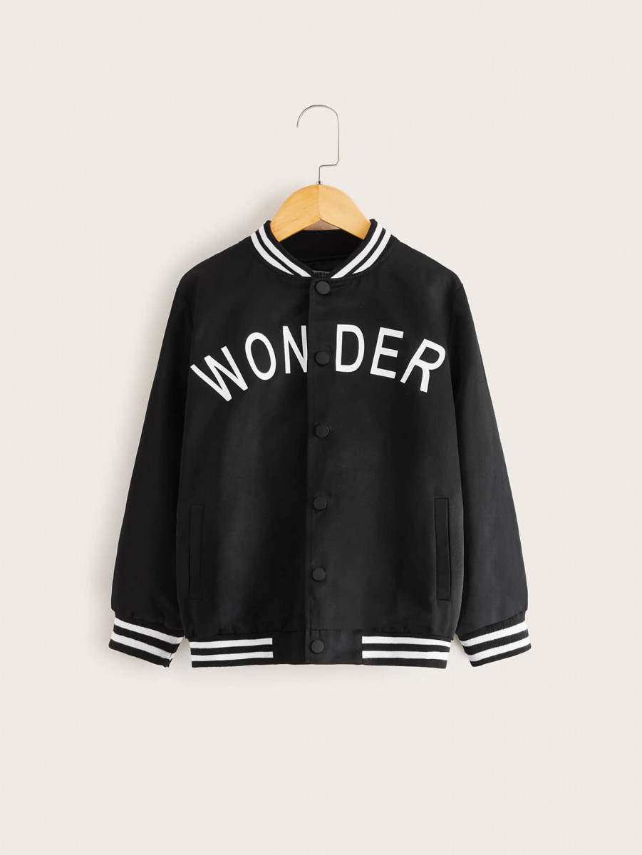 Boys Letter Graphic Baseball Jacket