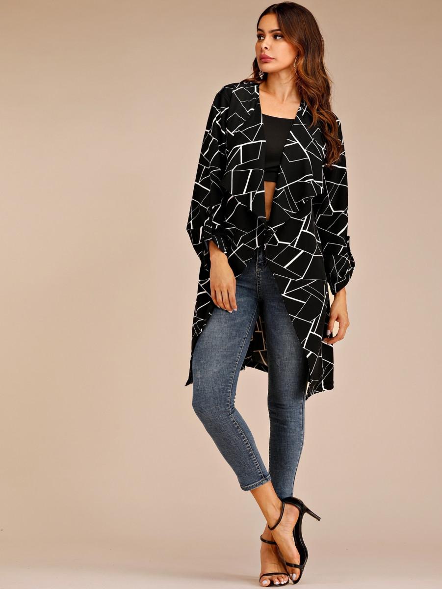 Geometric Print Roll Up Sleeve Belted Coat