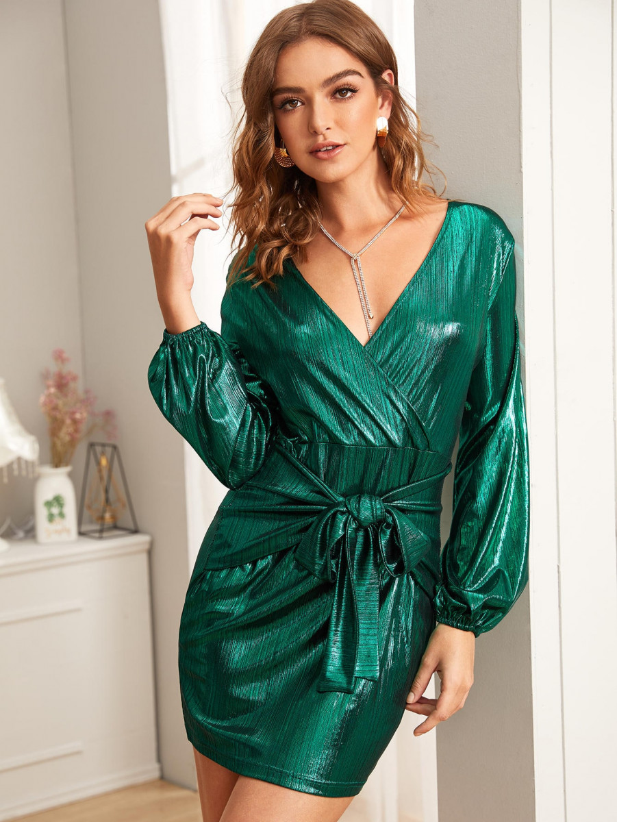 Metallic Surplice Tie Front Dress