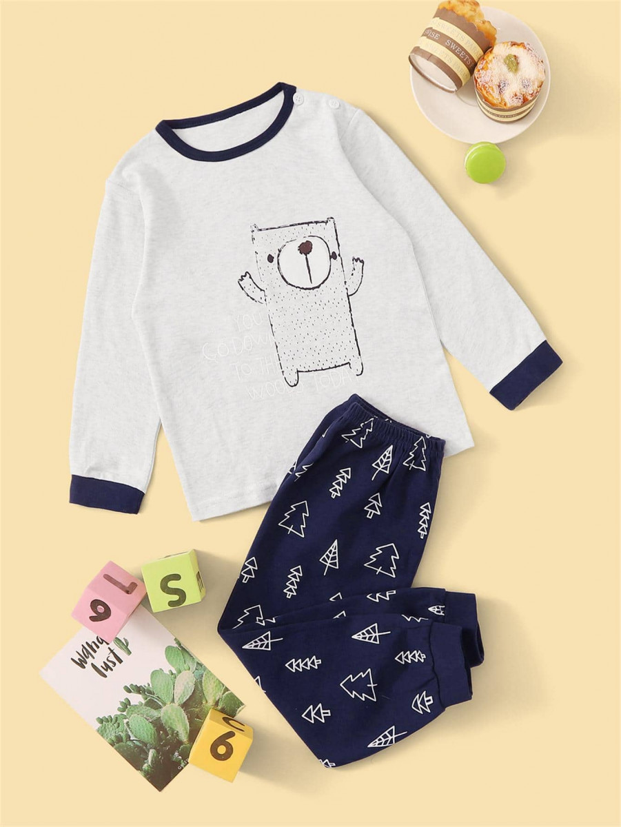 Toddler Boys Cartoon Bear Print PJ Set