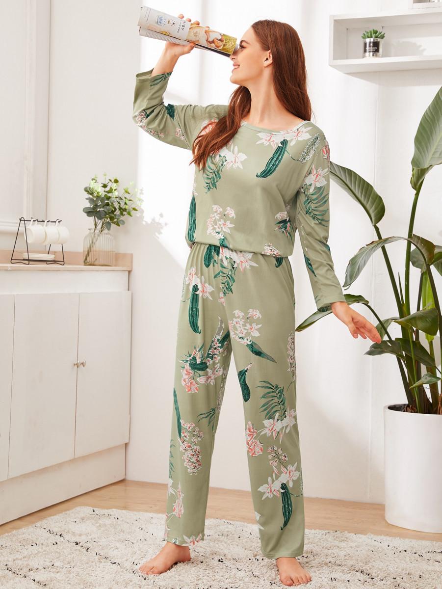Floral & Leaf Print PJ Set