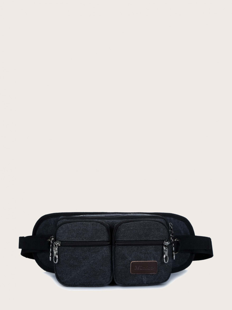 Men Double Pocket Front Fanny Pack