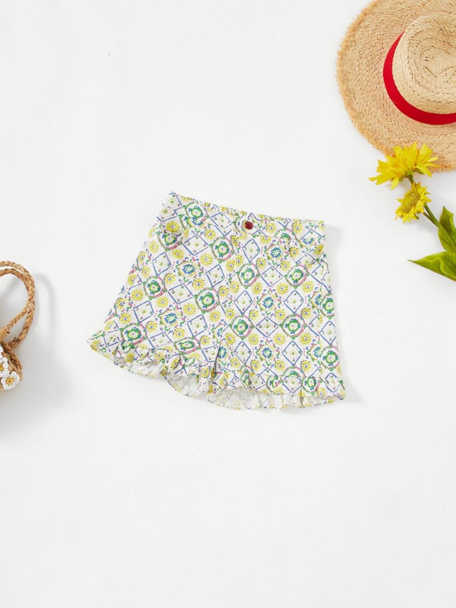 Girls Ruffle Hem Floral Shorts