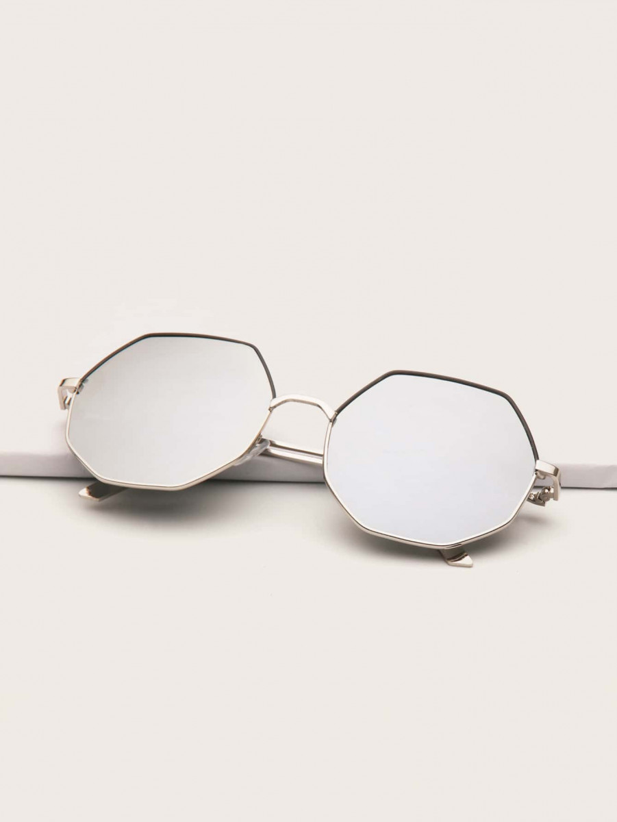 Men Polygon Metal Frame Sunglasses