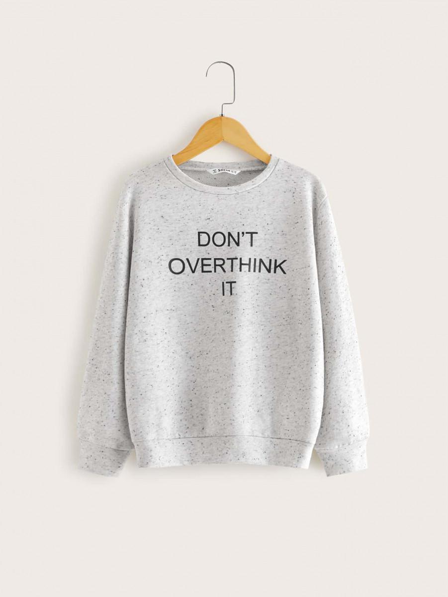Boys Slogan Graphic Heather Grey Pullover