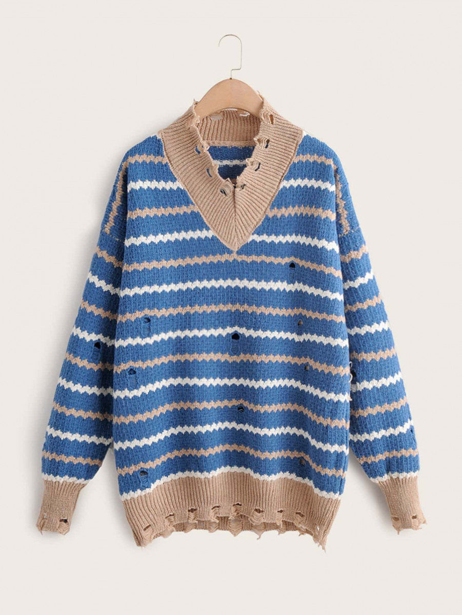 Striped Ripped V-Neck Drop Shoulder Sweater