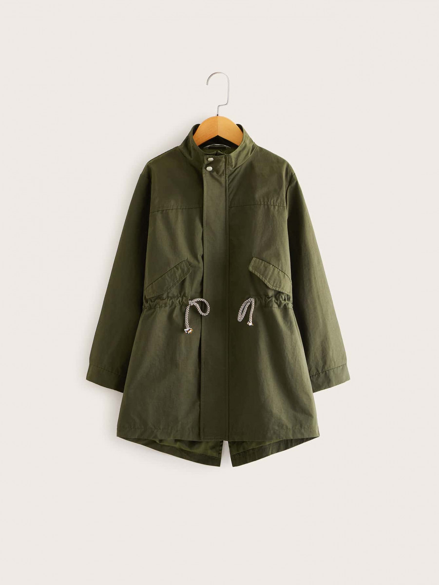 Boys Drawstring Waist Solid Coat