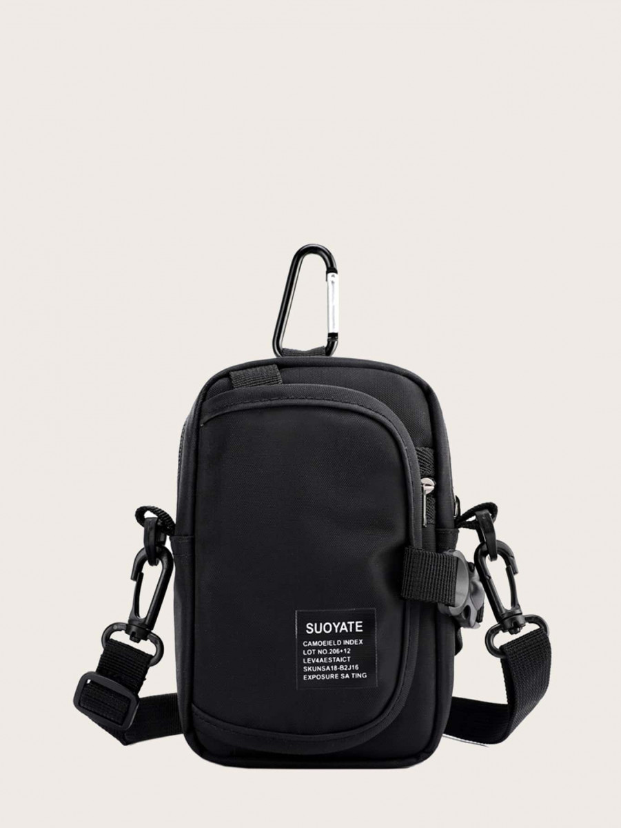 Men Letter Patch Crossbody Bag