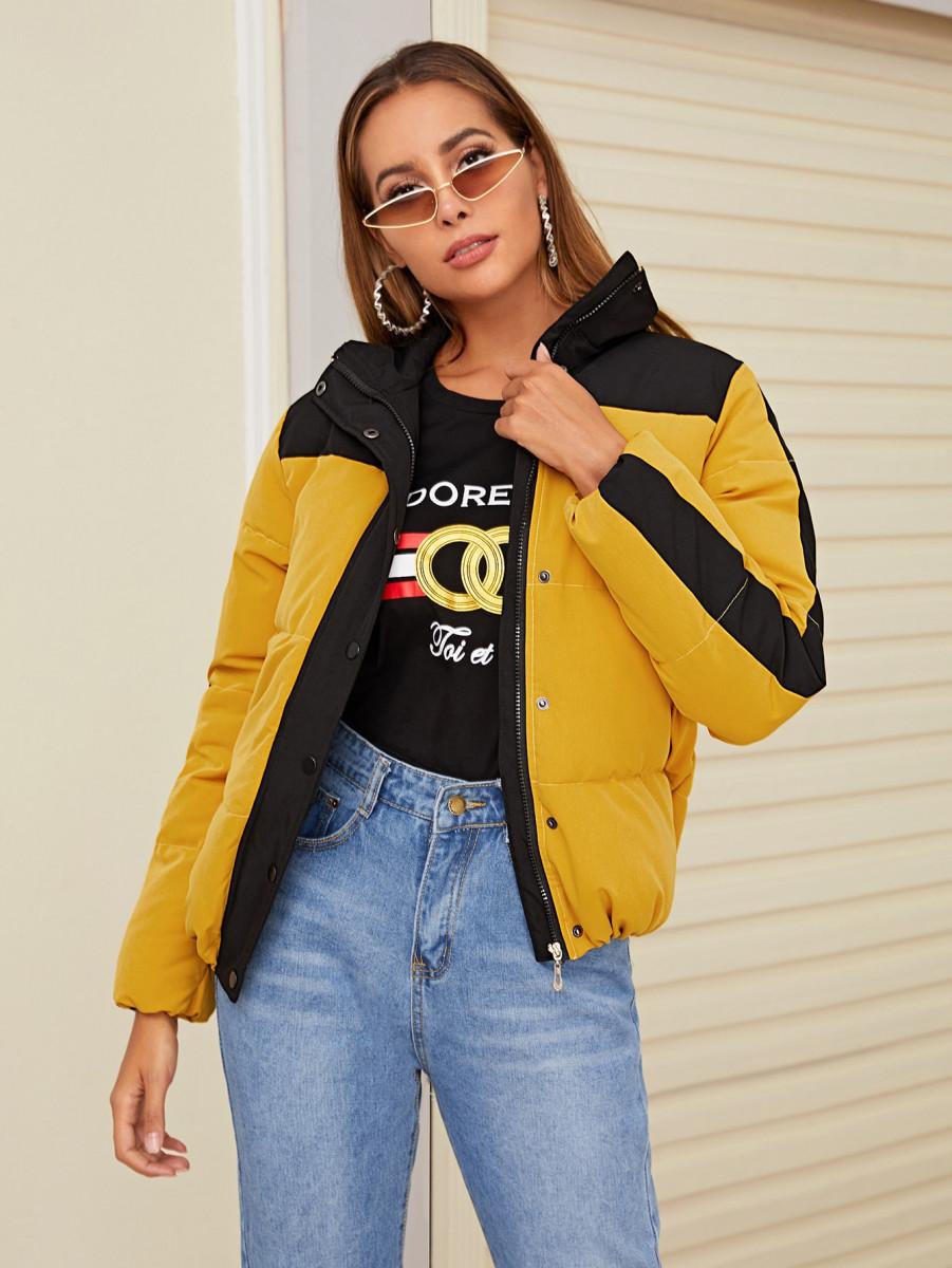 Contrast Panel Zip Up Puffer Jacket