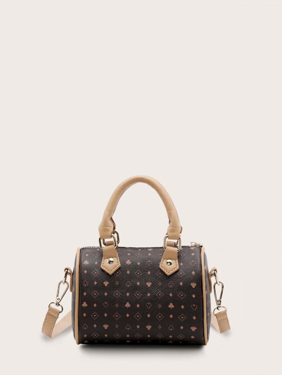Flower & Geometric Print Satchel Bag