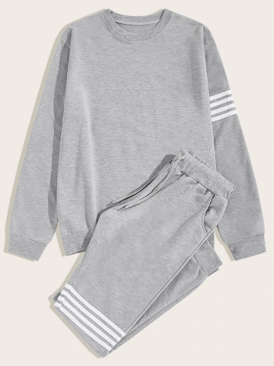 Men Stripe Tape Sweatshirt & Drawstring Sweatpants