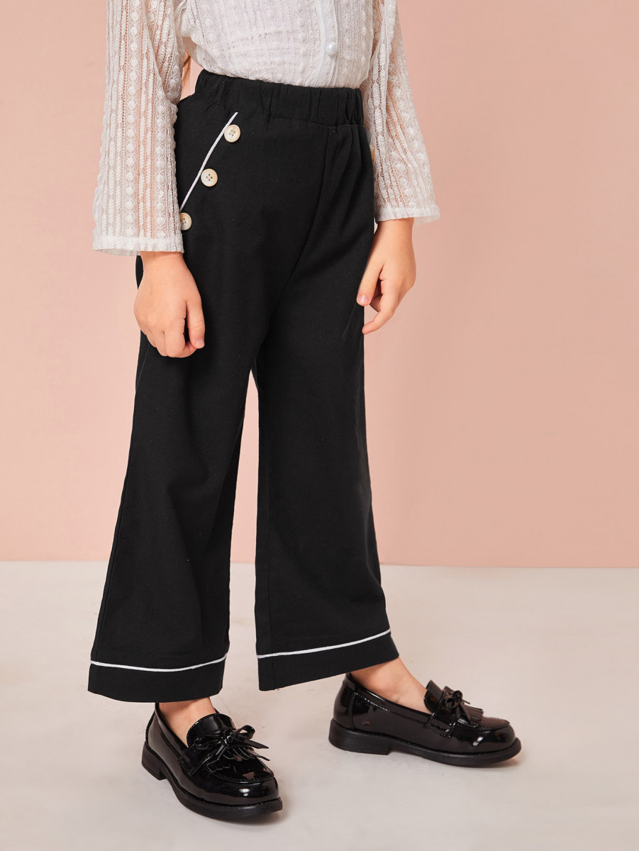 Toddler Girls Contrast Piping Wide Leg Pants