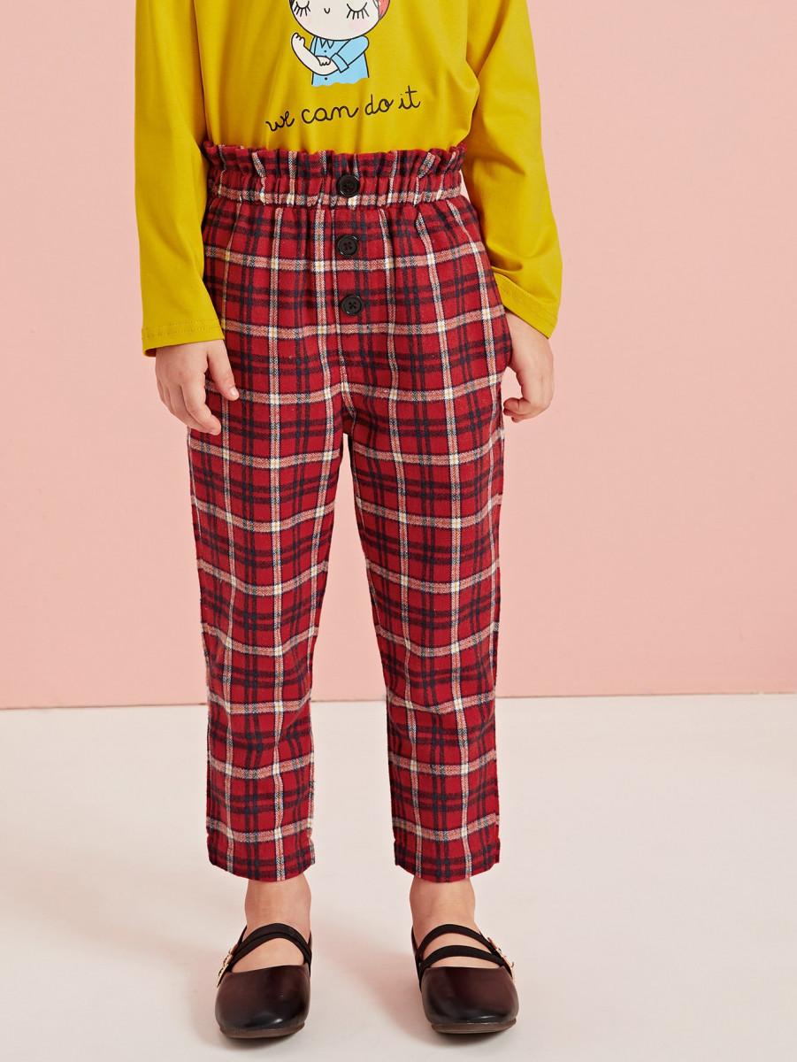 Toddler Girls Tartan Button Front Paperbag Pants