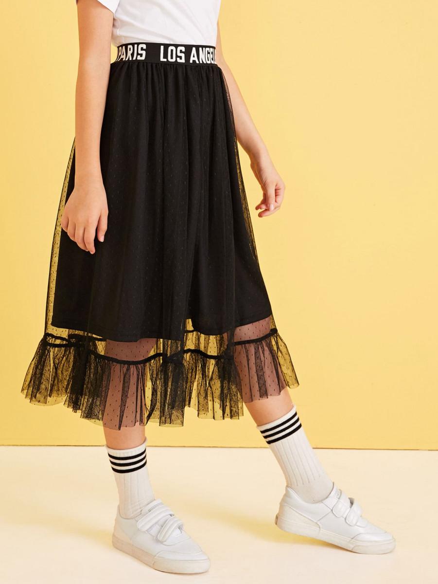 Girls Letter Print Waist Mesh Overlay Skirt