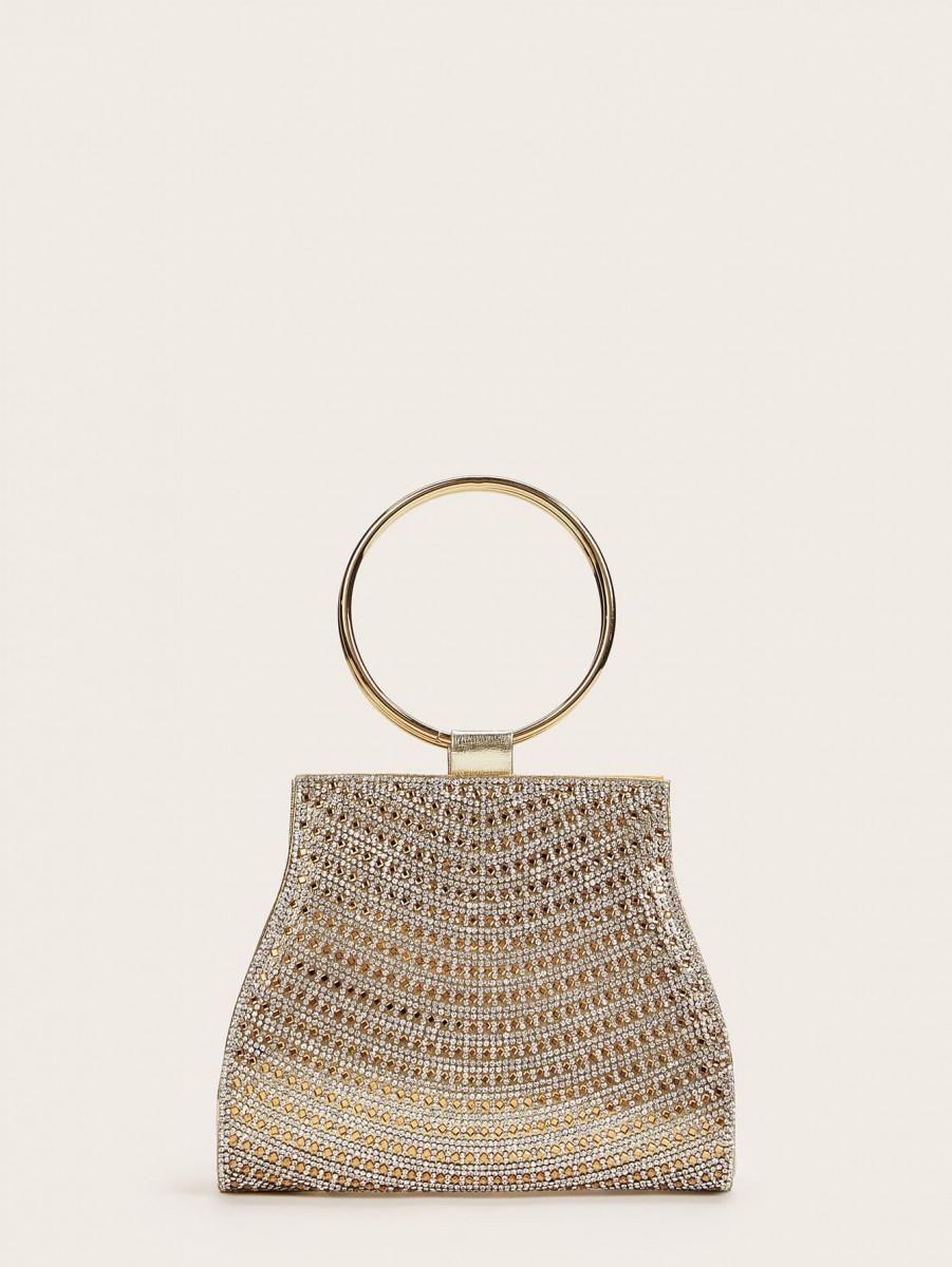 Rhinestone Decor Ring Handle Clutch Bag