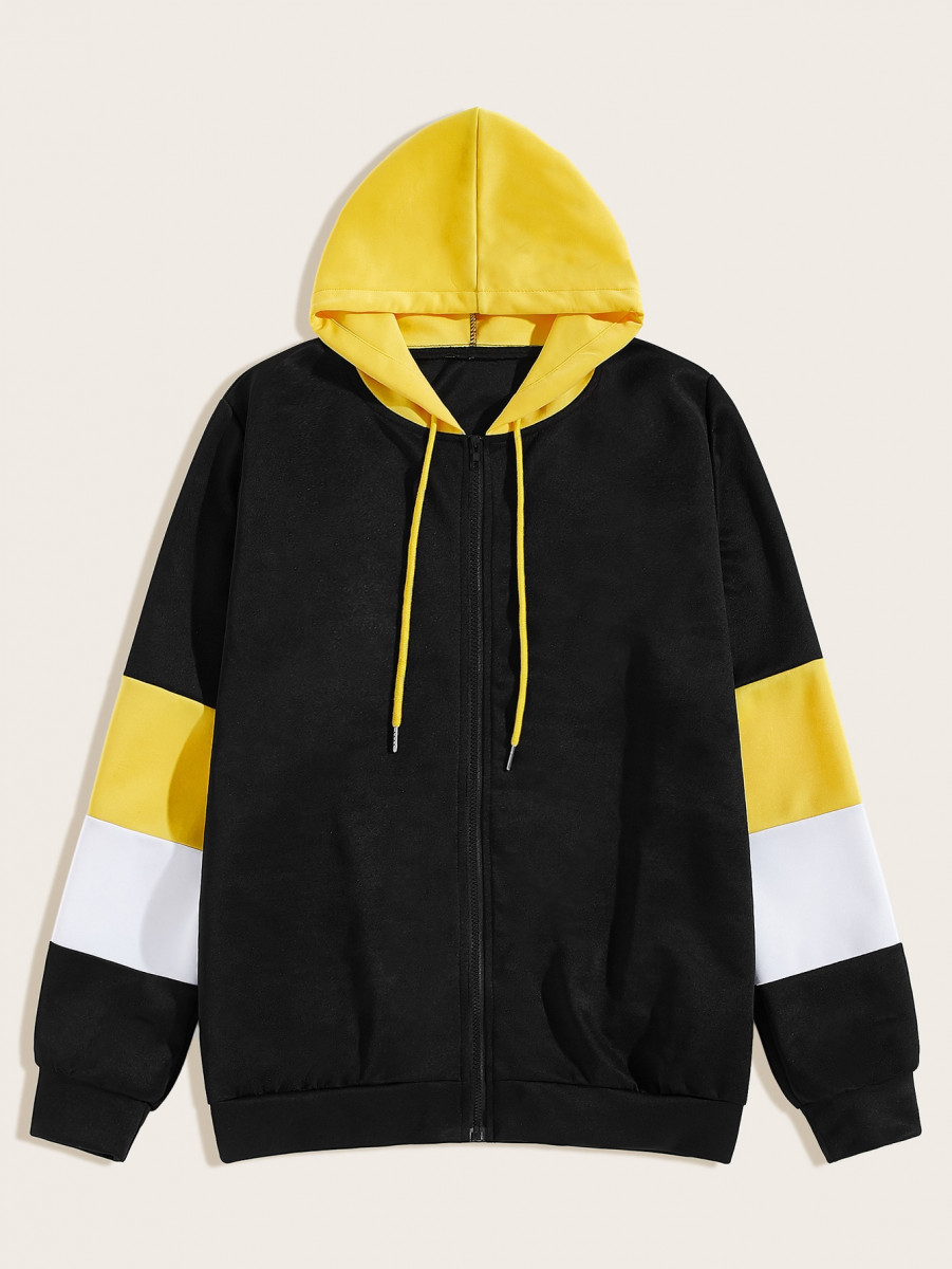 Men Cut And Sew Drawstring Hooded Jacket