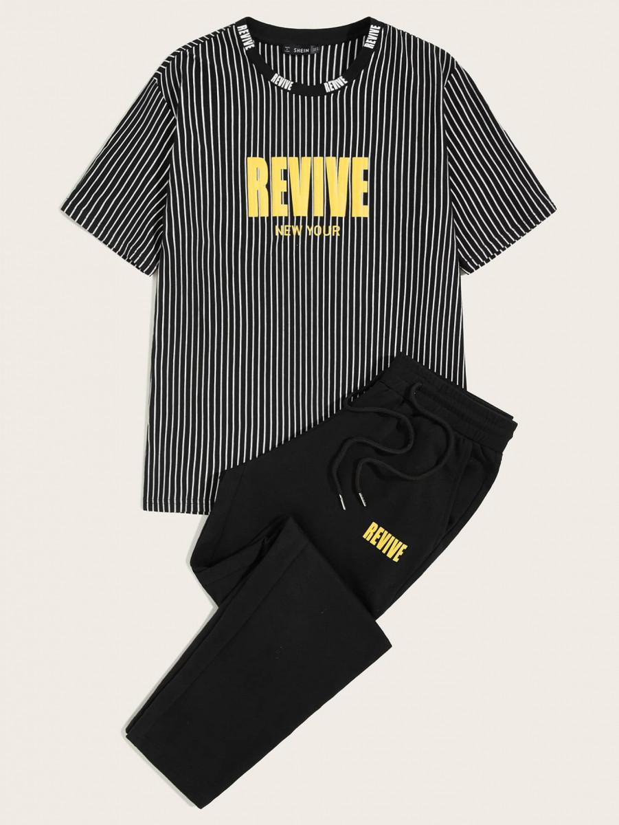 Men Slogan Graphic Striped Top & Pants Set