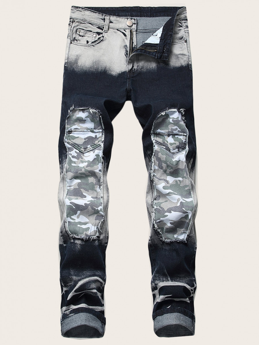 Men Contrast Camo Print Washed Jeans