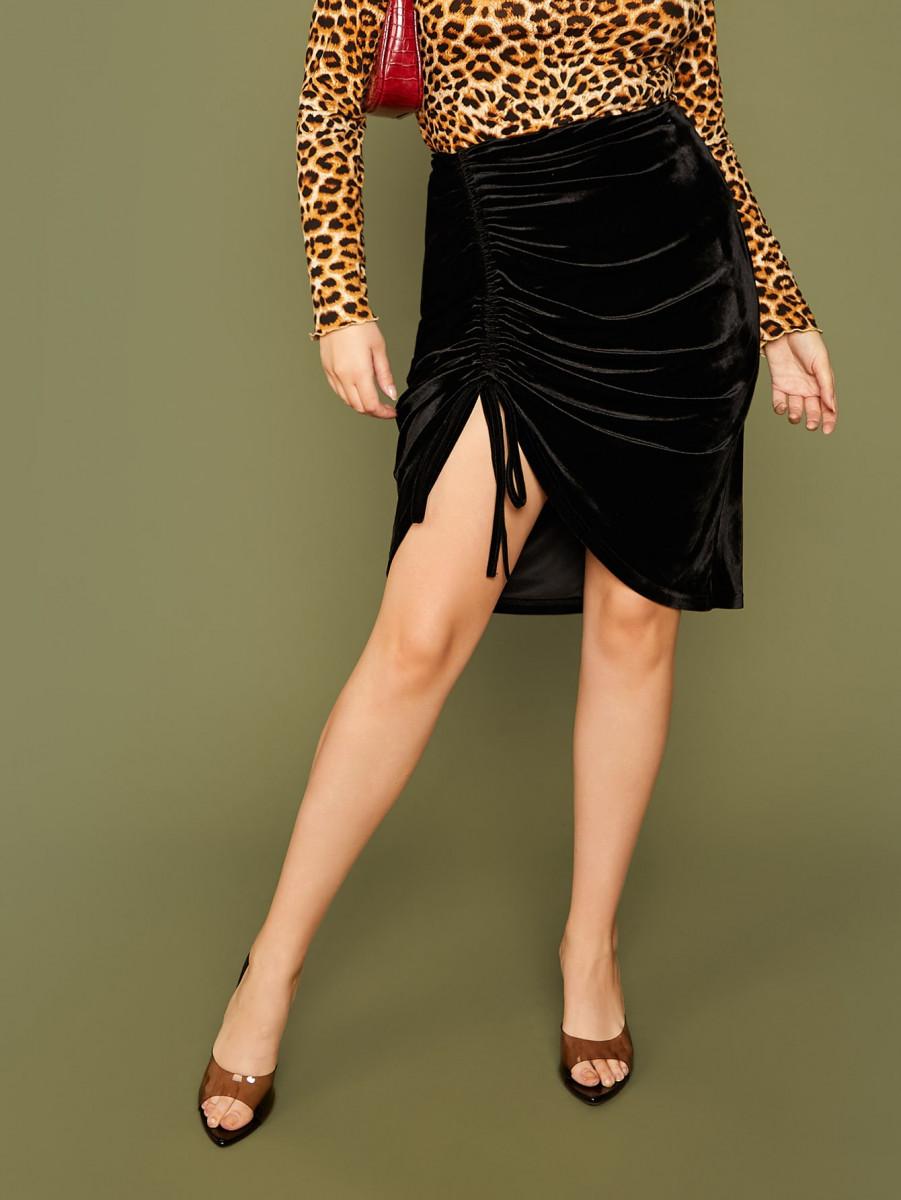 Plus Drawstring Ruched Velvet Skirt